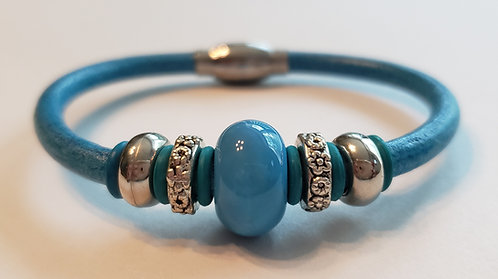 Blue Ceramic Bead Bracelet - NEW!