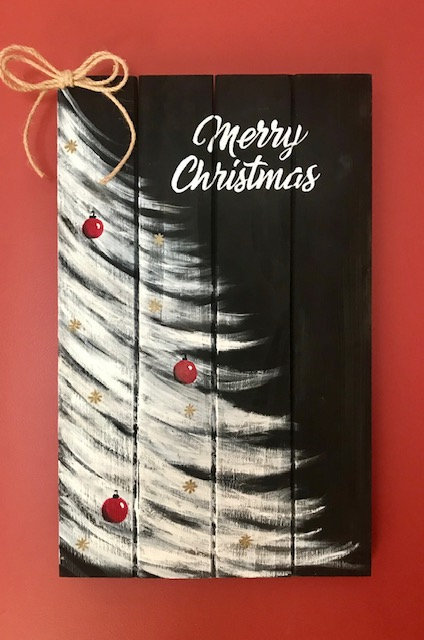 Christmas Tree on Wooden Panel - NEW!
