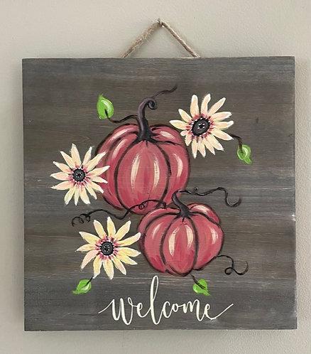 Double Pumpkin Welcome Wooden Panel - NEW!