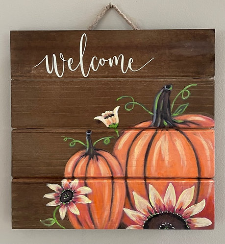 Fall Scene Welcome on Wooden Panel - NEW!