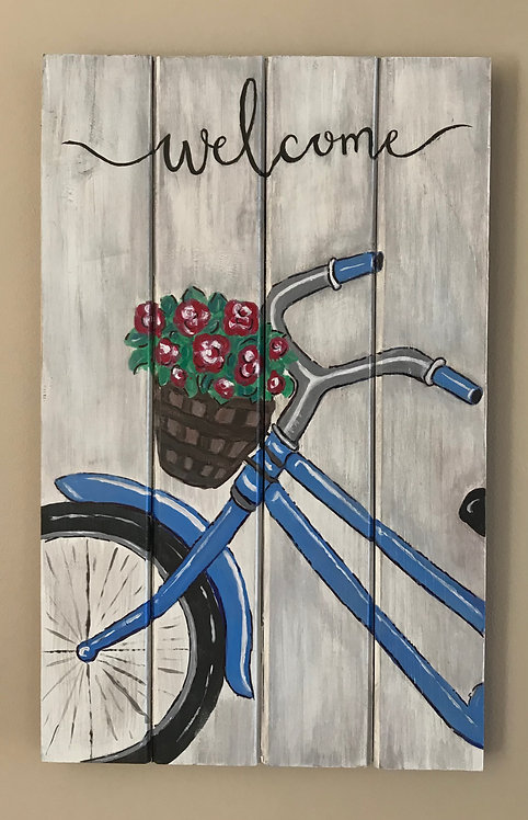 Bicycle on a Wooden Panel - NEW!