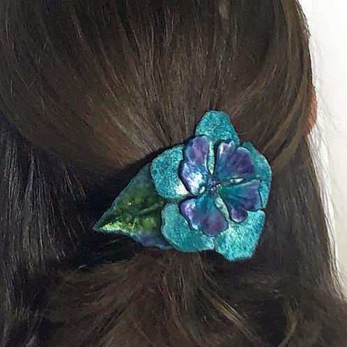Velvet Flower Pin and Hair Clip - Turquoise - NEW!