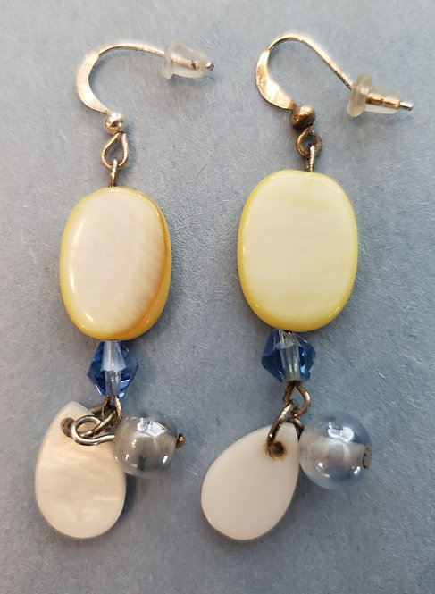 Oval Yellow Glass Earrings