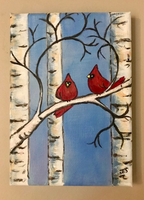 Two Cardinals in a Birch Tree