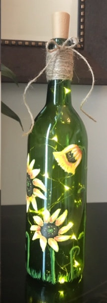 Lighted Sunflowers Bottle