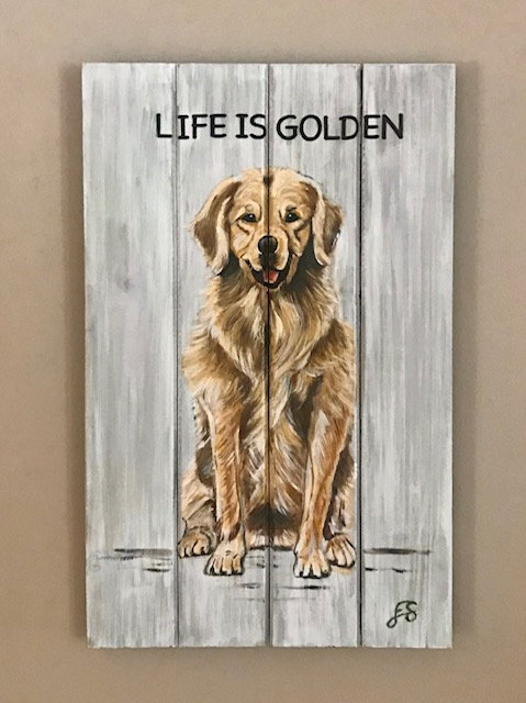 Dog on Wooden Panel - 2 - NEW!