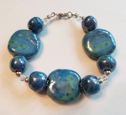 blue Kazuri beaded bracelet