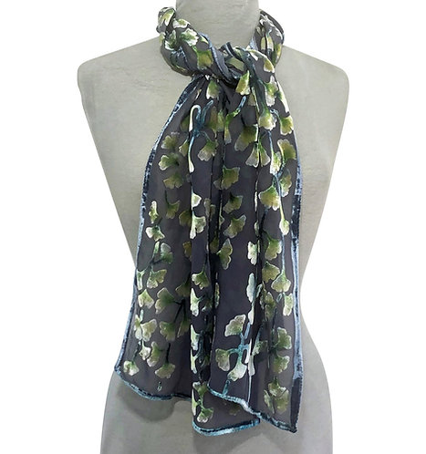 Black Ginkgo Small Scarf
