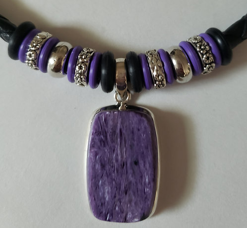 Amethyst Black Leather Necklace - NEW!