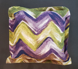 Violet and olive green zig zag motif pillow