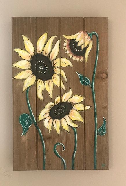 Sunflowers on Wooden Panel