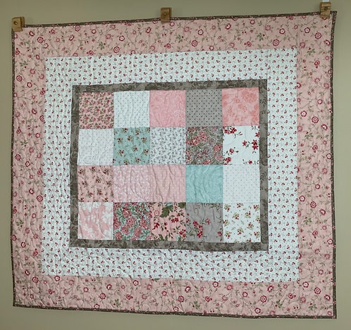 Mint Green,Pink, White Baby Quilt - NEW!