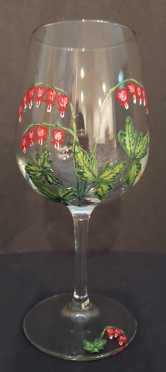 Bleeding Heart Wine Glasses (2) - NEW! - only one pair available