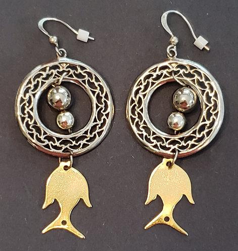 Medal Medallions W/Fish Earrings