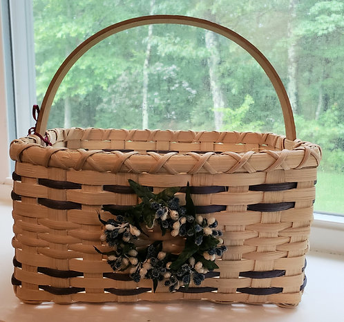 Handwoven Market Basket with Blue Wreath - NEW!