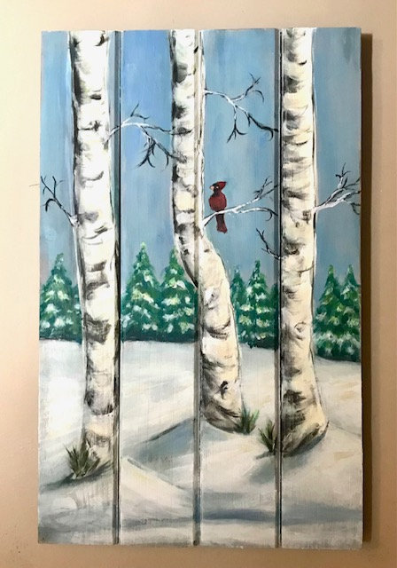 Birch Trees on Wooden Panel - NEW!
