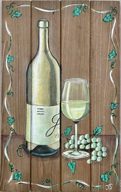 Wine and Grapes on Wooden Panel - NEW!