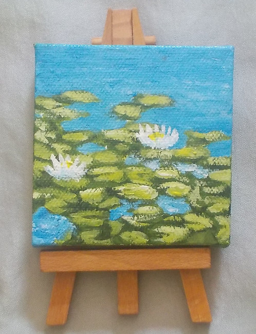 Water Lilies Mini Canvas with Easel
