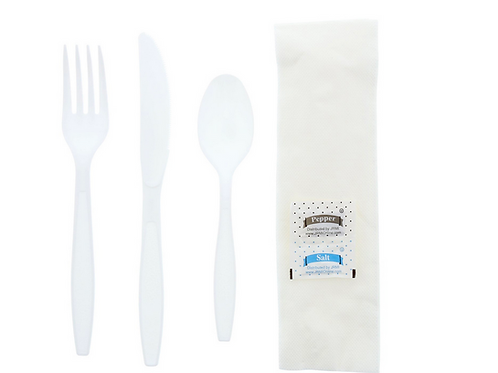 Knife Spoon Fork Napkin Salt/Pepper Kit