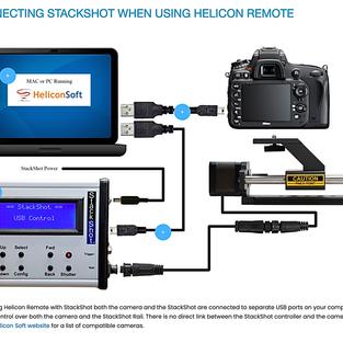Schéma de connexcion du Stackshot à l'appareil et à l'ordinateur