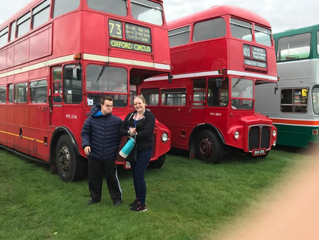 Young Rainbow centre clients in their element at a vintage bus Fayre!