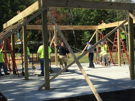 Mr. Carpenter's carpentry students lend a hand