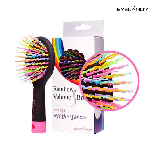 【韓國】EYECANDY-彩虹蓬鬆捲髪造型梳/S/黑色