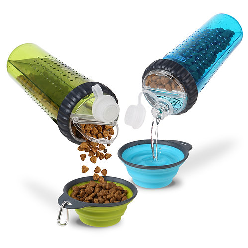 美國 DEXAS 掛扣便攜寵物飲食兩面杯+摺疊水碗