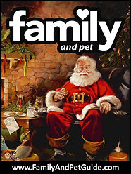 Family and Pet Guide, magazine cover, Santa Clause, fireplace