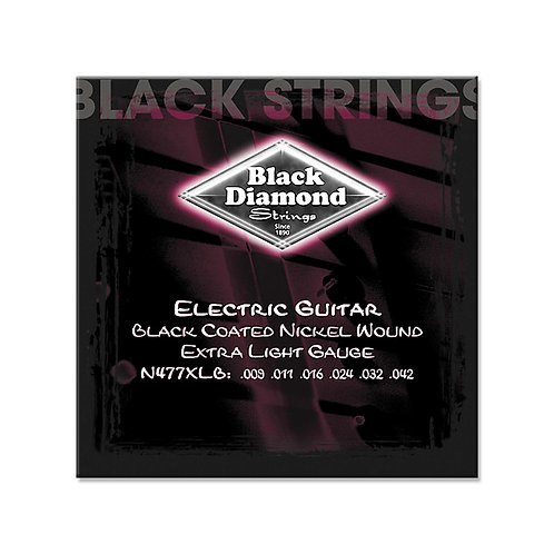Black Diamond Electric Guitar Black Coated Nickel (N477XLB)09-42