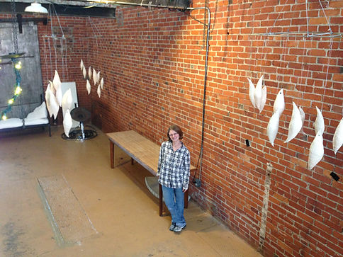 "I am standing with my installation ""When We Began"", currently on display at The Dirt Salon Gallery through the end of November, 2014"