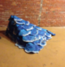 stomped spontaneous formed ceramic, wood, spray paint; 5ftX4ftX2ft