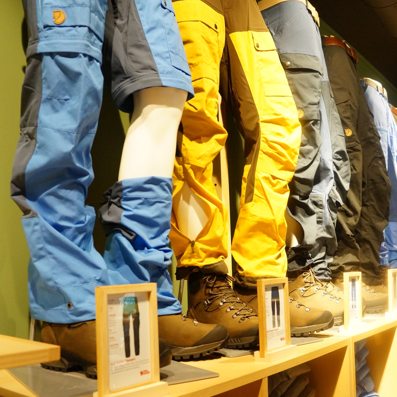 Hiking pants selection in the Fjällreven brand store, Oslo