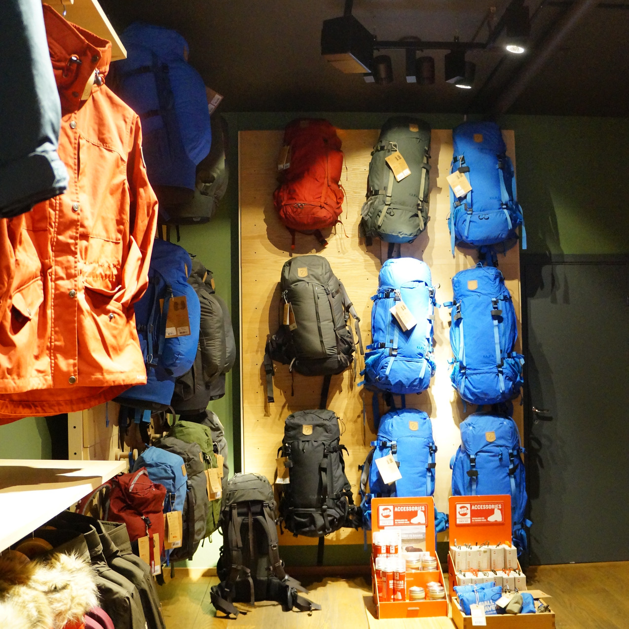 Great selection in the Fjällreven brand store, Oslo