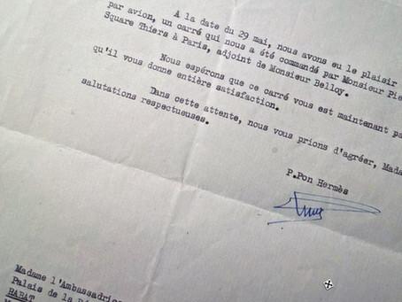 Ex Libris - Un Carré Hermès pour Madame l'Ambassadrice de Rabat au Maroc en 1946