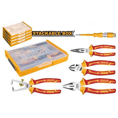 Set organizador + 5 herramientas aisladas para electricista