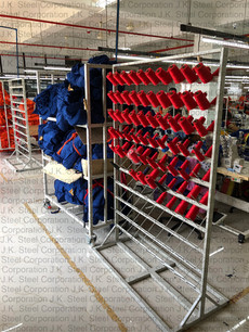 Thread Stand (200 Rolls) with Input Bundle Storage Trolley (Textile Industry)