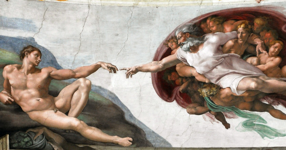 The birth of Adam representing human contact