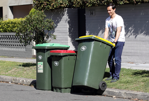 Barry Prince putting the bins out at his Regent Street home