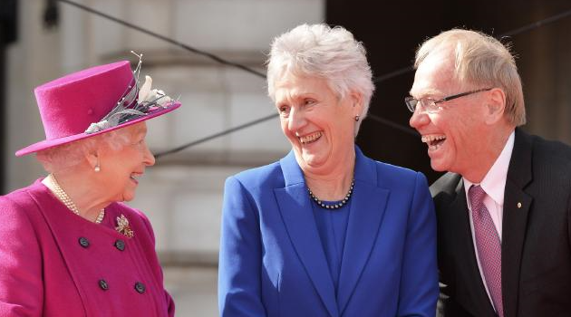 Her Majesty the Queen talking headwear
