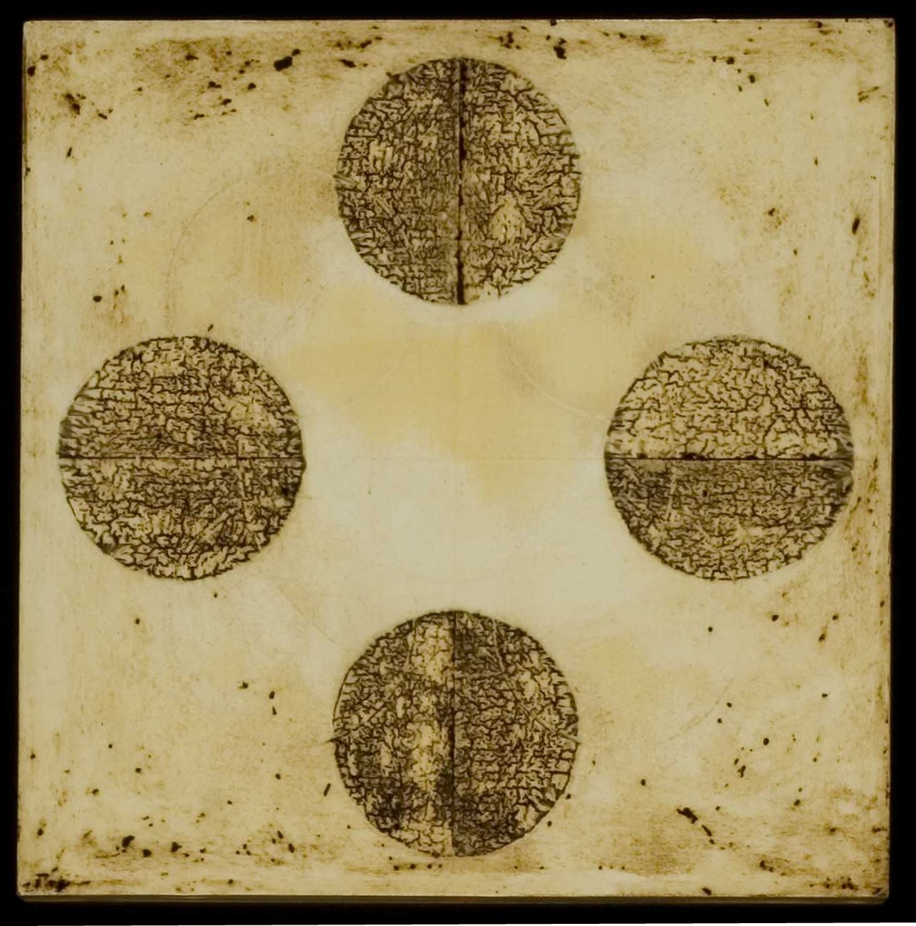 Marco Logsdon. Untitled 1608 a.  Oil, Tar, Beeswax on Panel. 12 inches square..j