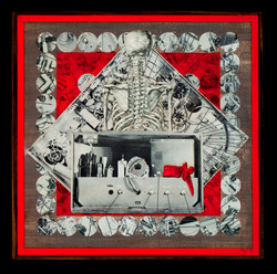 Marco Logsdon. Red Vertebrae Front and Back.  Collage on Wood. Back only.jpg