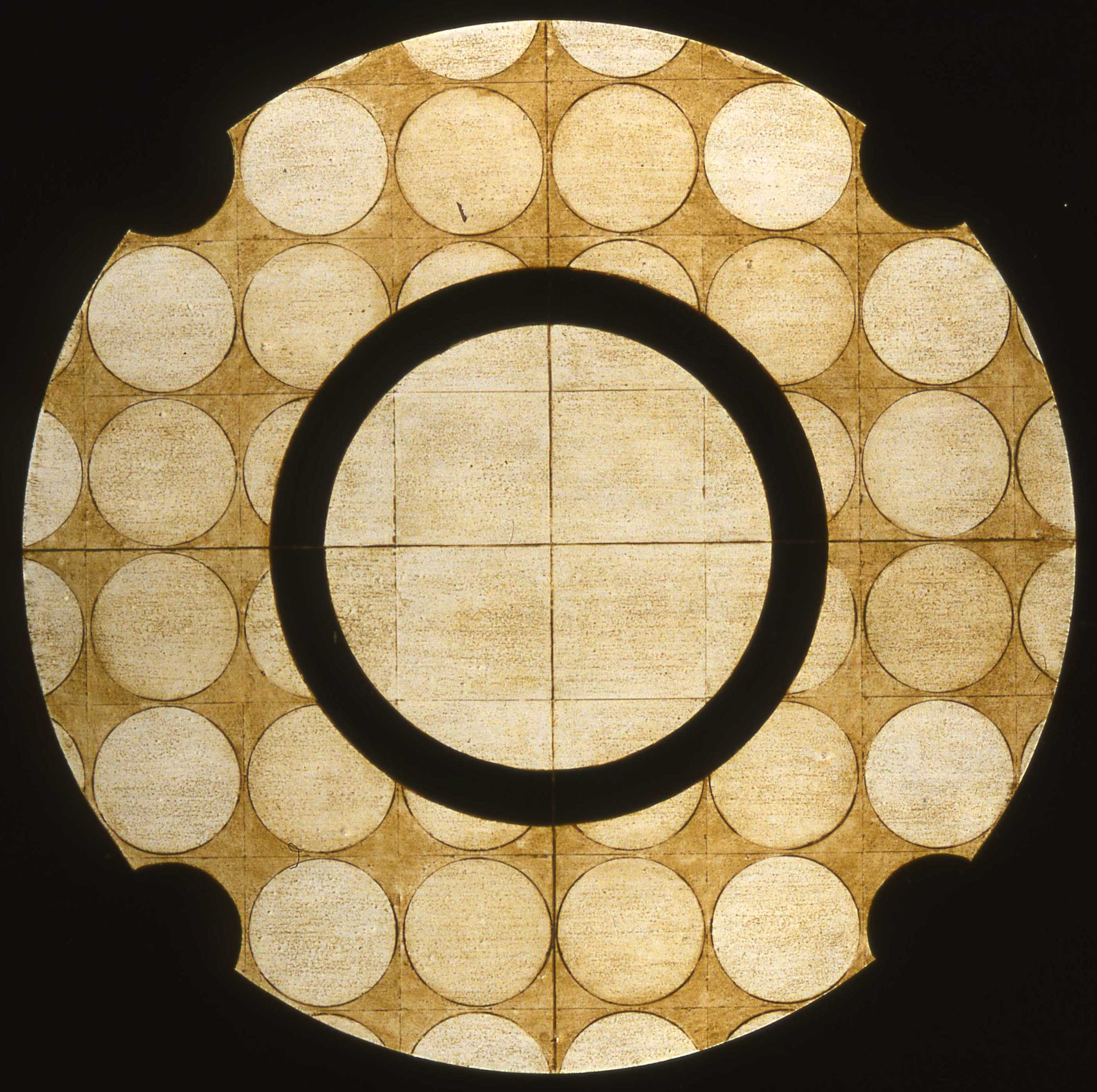 Marco Logsdon, Circle Painting #5, Oil, Tar, Beeswax on Hardboard. 34 inches dia