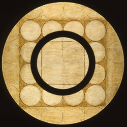Marco Logsdon, Circle Painting #6, Oil, Tar, Beeswax on Harboard, 34 in. diamete