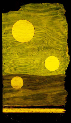 Marco Logsdon. Tar Landscape with Yellow-Green Sky. 3 moons. Oil and Tar on Weat