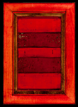 Marco Logsdon. 4 by 6. Red. 2. Oil and Tar on Balsa Wood in Ikea Frame.
