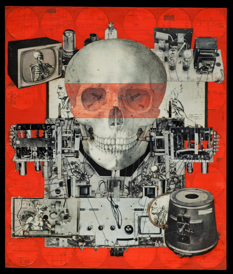 Marco Logsdon.  Death hides in the Machinery. Collage on Found Wood. 14 by 16 in