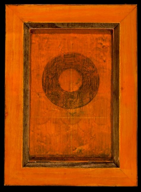 Marco Logsdon. 4 by 6. Orange. 1. Oil and Tar on Balsa Wood in Ikea Frame..jpg