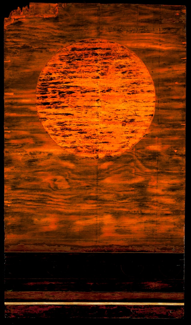 ply - Tar Landscape with Orange Sky. Oil and Tar on Weathered Plywood.  24 by 48