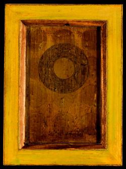 Marco Logsdon. 4 by 6. Green. 2. Oil, Tar, Pencil on Balsa Wood in Ikea Frame..j